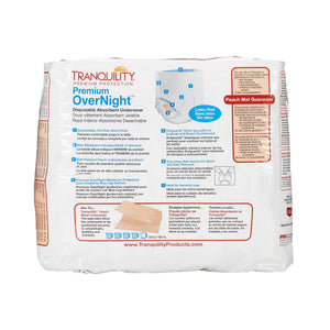 Unisex Adult Absorbent Underwear Tranquility® Premium OverNight™ Pull On with Tear Away Seams 2X-Large Disposable Heavy Absorbency