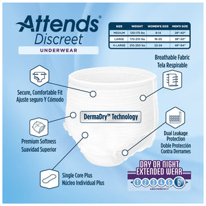 Unisex Adult Absorbent Underwear Attends® Discreet Pull On with Tear Away Seams Large Disposable Heavy Absorbency