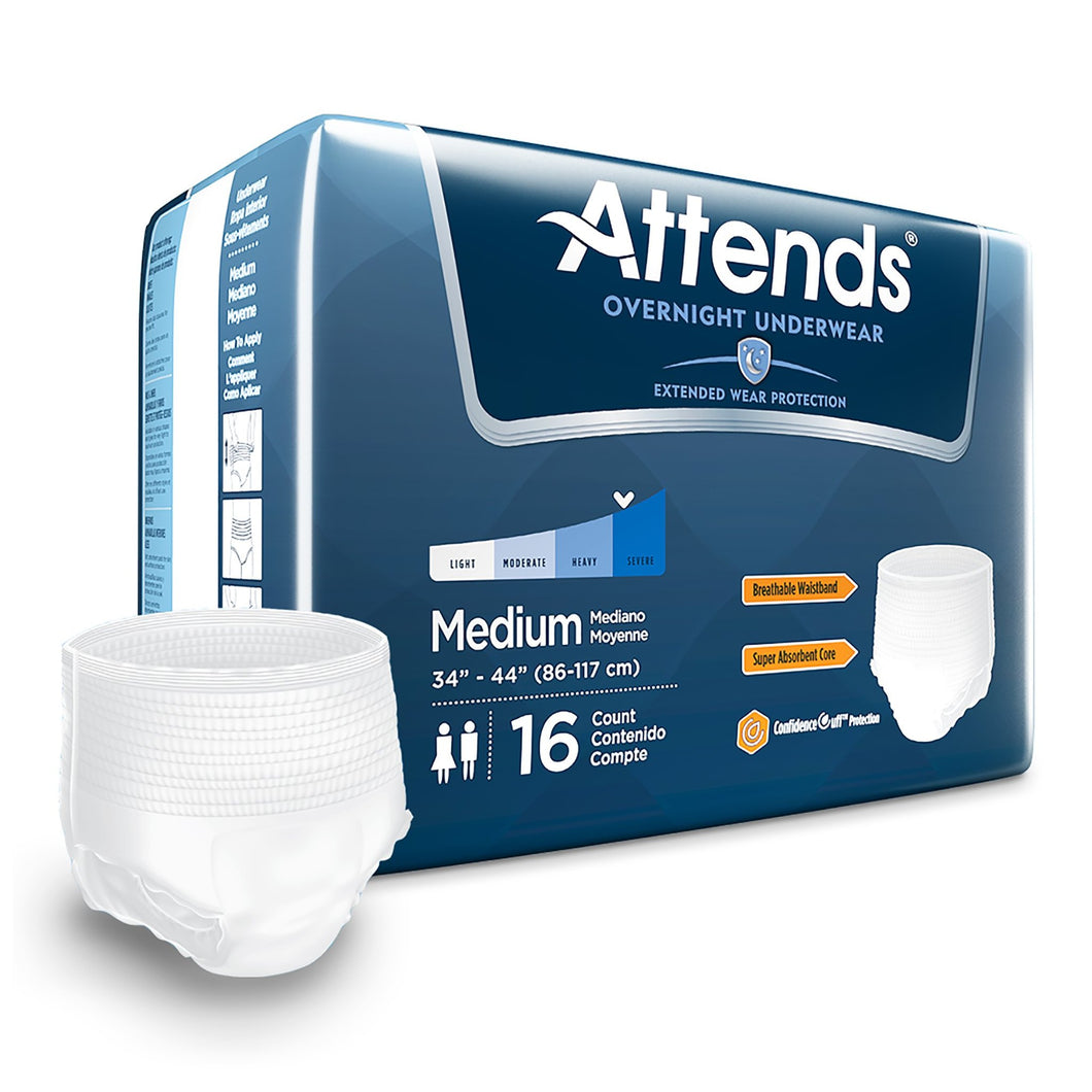 Unisex Adult Absorbent Underwear Attends® Overnight Pull On with Tear Away Seams Medium Disposable Heavy Absorbency