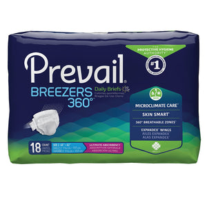 Unisex Adult Incontinence Brief Prevail® Breezers 360°™ Size 2 Disposable Heavy Absorbency
