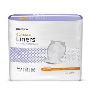 Incontinence Liner McKesson Classic 24-1/2 Inch Length Light Absorbency Polymer Core One Size Fits Most Adult Unisex Disposable