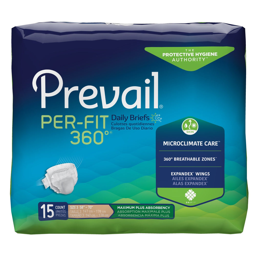 Unisex Adult Incontinence Brief Prevail® Per-Fit 360°™ X-Large Disposable Heavy Absorbency