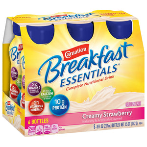 Oral Supplement Carnation® Breakfast Essentials® Creamy Strawberry Flavor Ready to Use 8 oz. Bottle