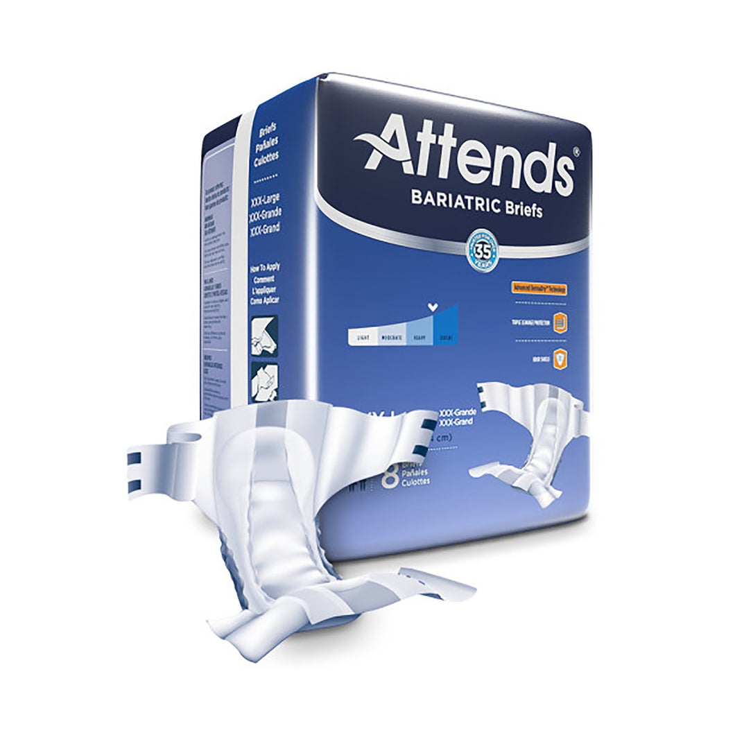 Unisex Adult Incontinence Brief Attends® Bariatric 3X-Large Disposable Heavy Absorbency