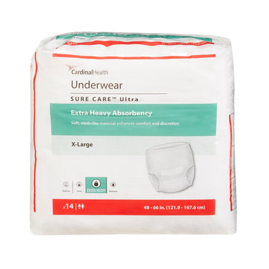 Unisex Adult Absorbent Underwear Sure Care™ Ultra Pull On with Tear Away Seams X-Large Disposable Heavy Absorbency