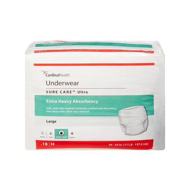 Unisex Adult Absorbent Underwear Sure Care™ Ultra Pull On with Tear Away Seams Large Disposable Heavy Absorbency