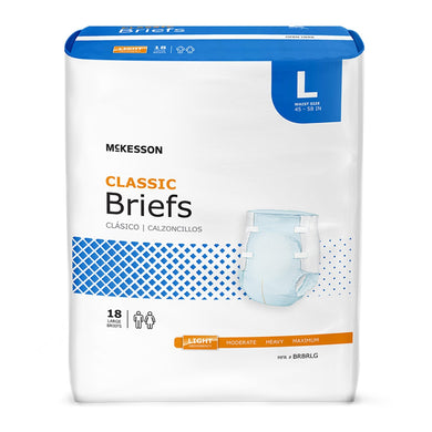 Unisex Adult Incontinence Brief McKesson Classic Large Disposable Light Absorbency