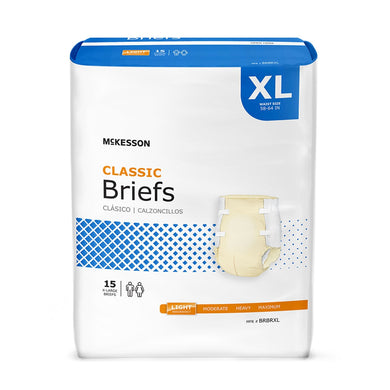 Unisex Adult Incontinence Brief McKesson Classic X-Large Disposable Light Absorbency