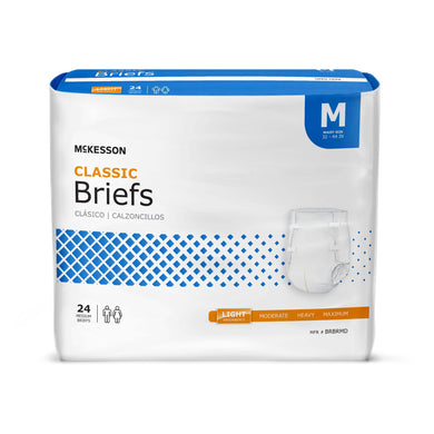 Unisex Adult Incontinence Brief McKesson Classic Medium Disposable Light Absorbency