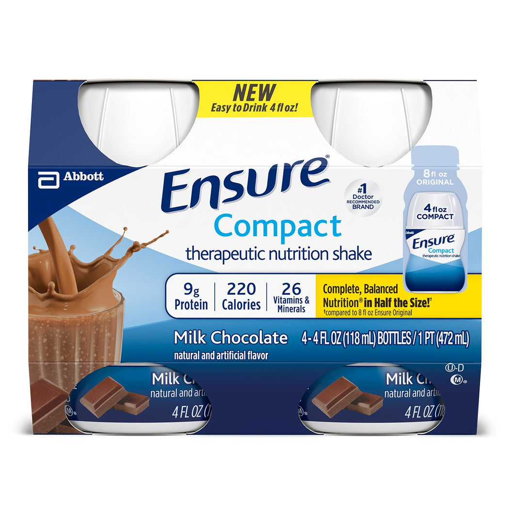 Oral Supplement Ensure® Compact Therapeutic Nutrition Shake Chocolate Flavor Ready to Use 4 oz. Bottle