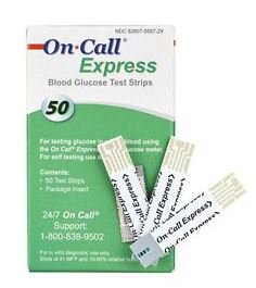 Blood Glucose Test Strips On Call® 50 Strips per Box No Coding Required For On Call Glucose Meters
