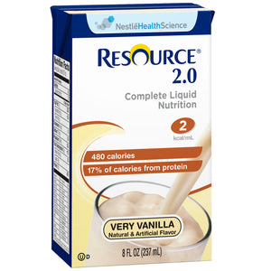 Oral Supplement Resource® 2.0 Very Vanilla Flavor Ready to Use 8 oz. Carton