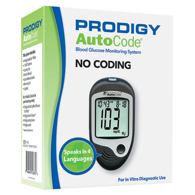 Blood Glucose Meter Prodigy® 7 Second Results Stores Up To 450 Results , 7 , 14 , and 30 Day Averaging No Coding Required