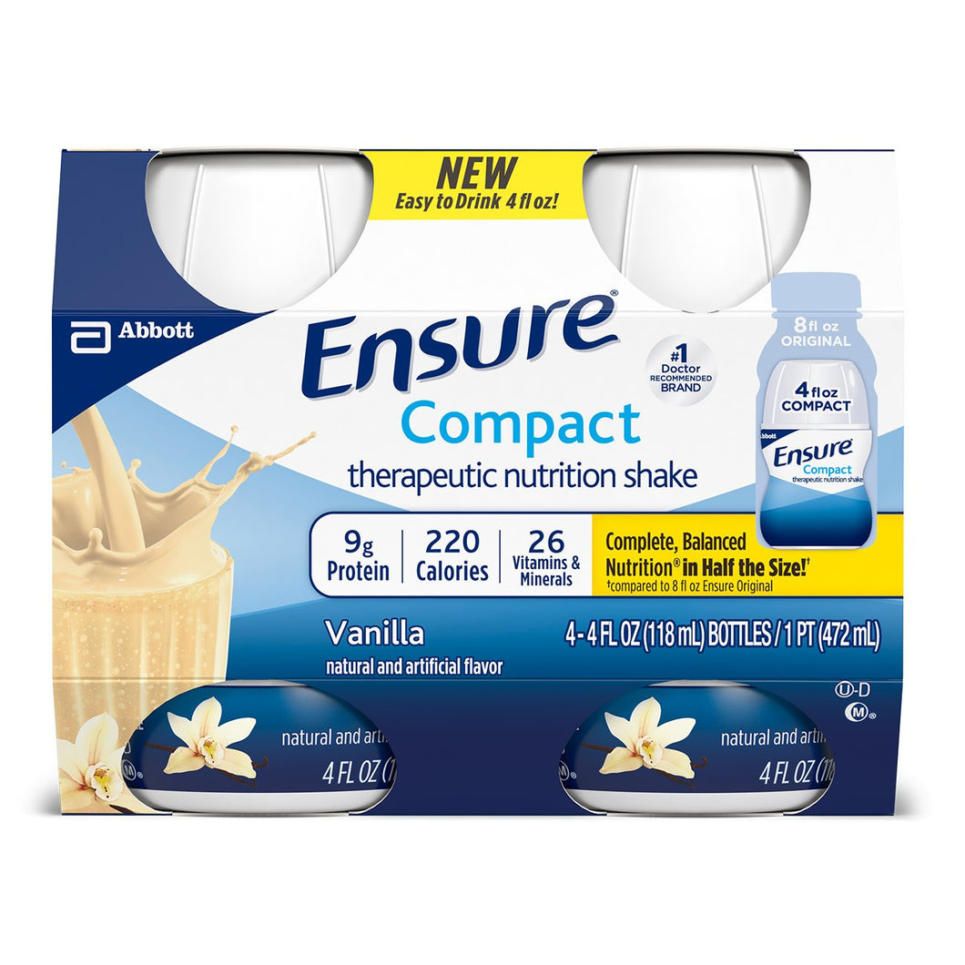 Oral Supplement Ensure® Compact Therapeutic Nutrition Shake Vanilla Flavor Ready to Use 4 oz. Bottle