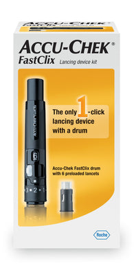 Lancing Device Kit Accu-Chek® FastClix Lancet Needle Multiple Depth Settings Track System
