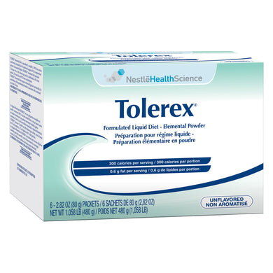 Elemental Oral Supplement / Tube Feeding Formula Tolerex® Unflavored 2.82 oz. Individual Packet Powder