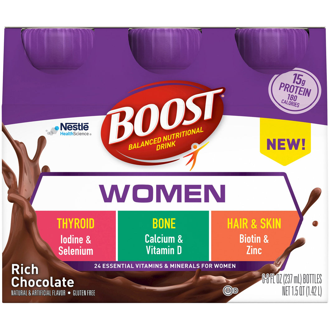 Oral Supplement Boost® Women Rich Chocolate Flavor Ready to Use 8 oz. Bottle