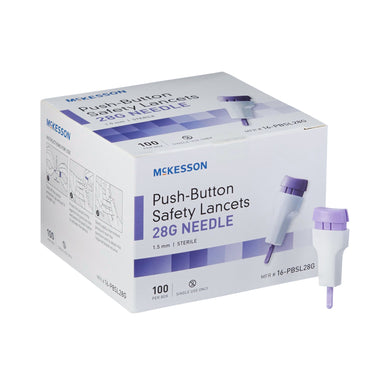 Lancet McKesson Fixed Depth Lancet Needle 1.5 mm Depth 28 Gauge Push Button Activated
