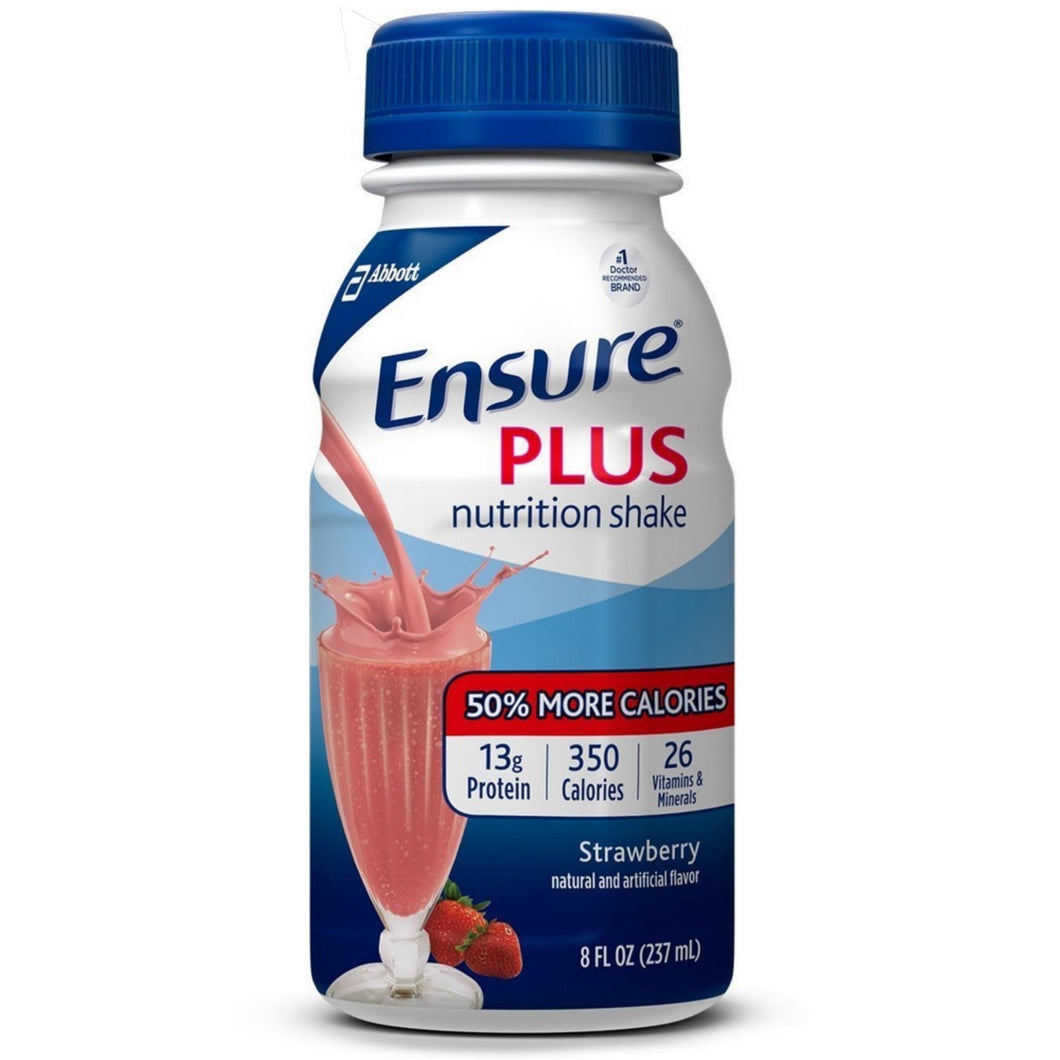 Oral Supplement Ensure® Plus Strawberry Flavor Ready to Use 8 oz. Bottle