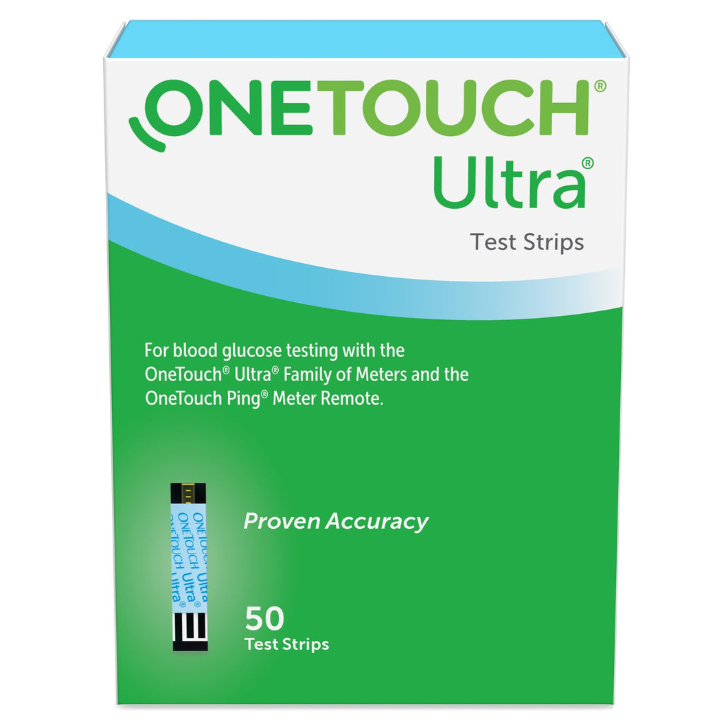 Blood Glucose Test Strips OneTouch® Ultra® Blue 50 Strips per Box For OneTouch® Ultra® Blood Glucose Meter