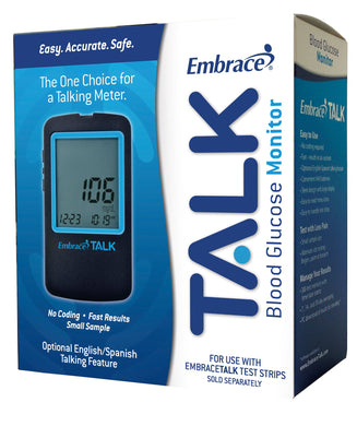 Blood Glucose Meter Embrace® 6 Second Results Stores Up To 300 Results with Date and Time No Coding Required