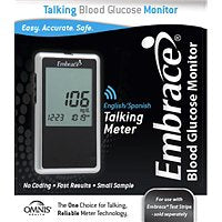 Blood Glucose Meter Kit Embrace® 6 Second Results Stores Up To 300 Results with Date and Time No Coding Required