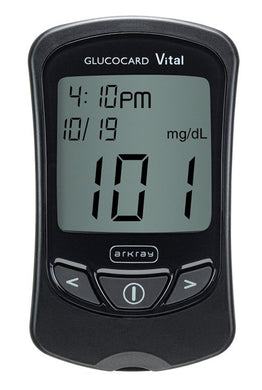 Blood Glucose Meter Kit Glucocard® Vital™ 7 Second Results Stores Up To 250 Results , 14 and 30 Day Averaging Auto Coding