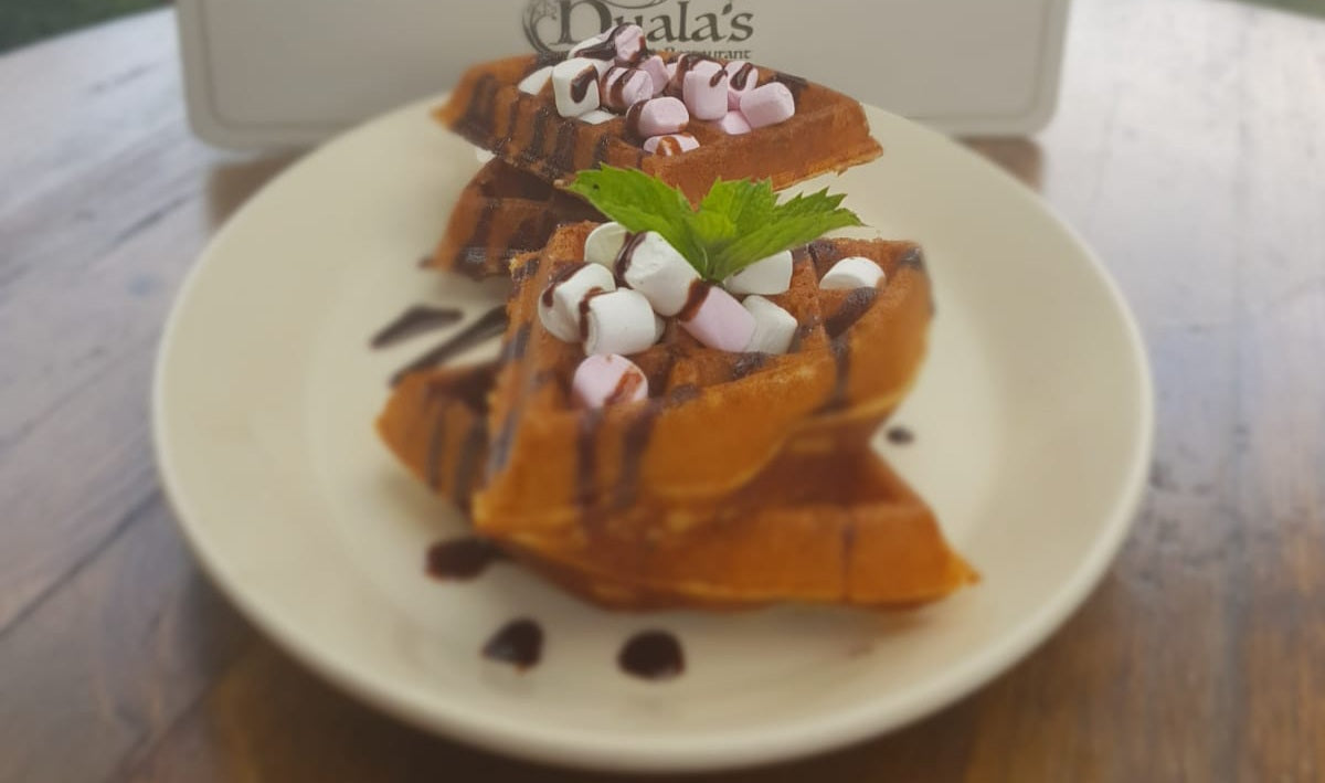 Homemade Hot Waffles with Marshmallow & Chocolate Sauce