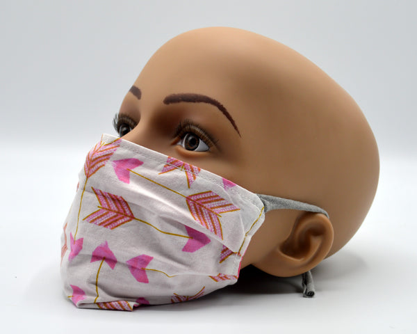 Reusable Face Mask- Pink with Arrows