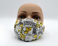 Reusable Face Mask- Grey & Yellow Animals