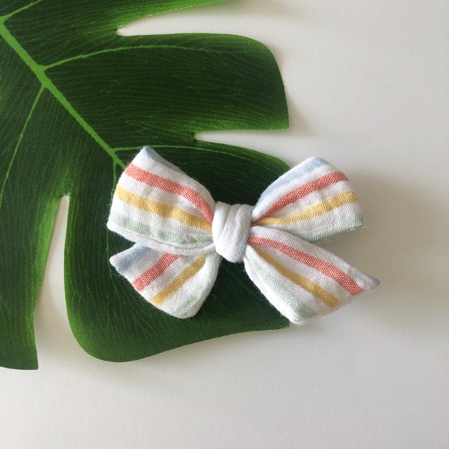 Stripes Gauze Hair Bow
