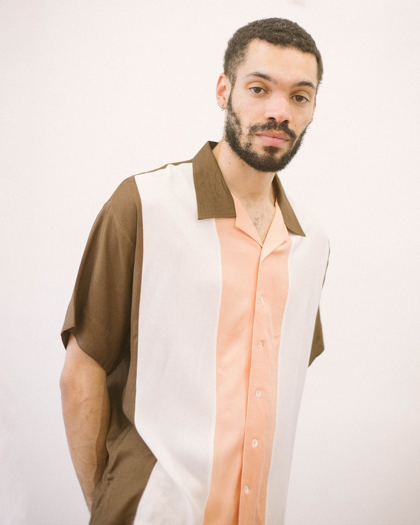 Checks - Rayon Bowling Shirt - Cocoa/Peach