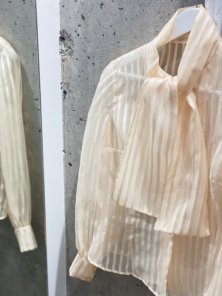 Vintage Sheer Stripe Bow blouse