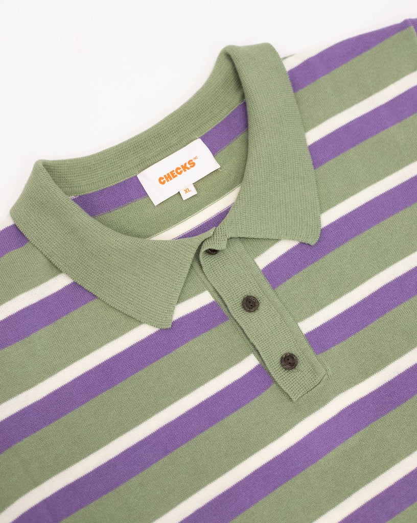 Checks - Knit Striped Polo - Sage