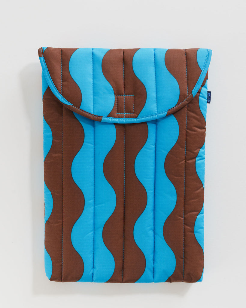 "BAGGU - Puffy Laptop Sleeve 16"" - Teal and Brown Wavy Stripe"
