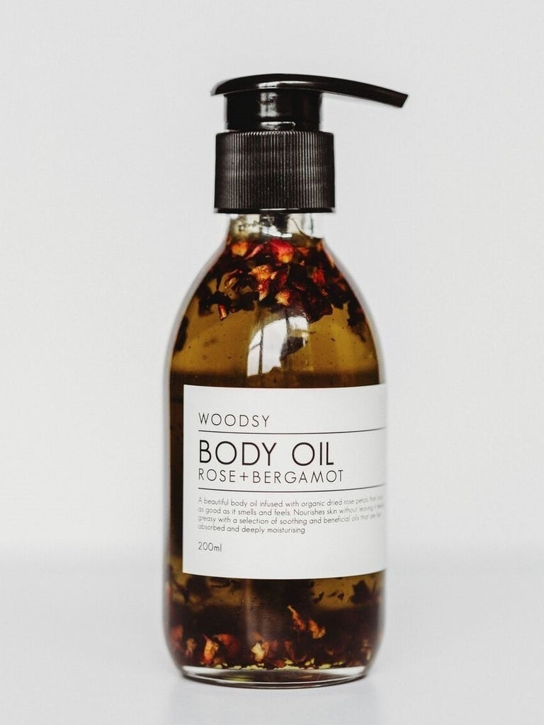 Woodsy Botanics Body Oil - Rose + Bergamot