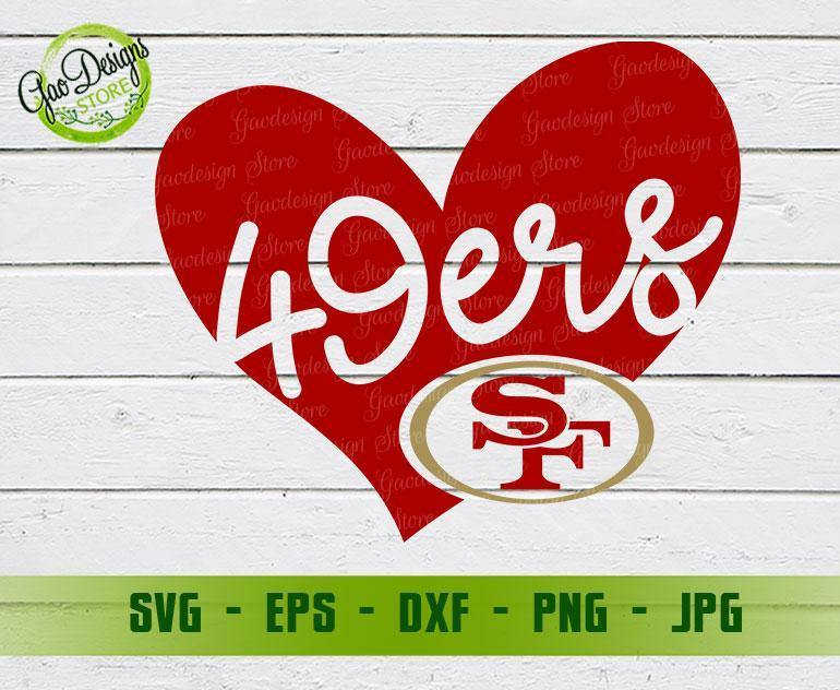 49ers Heart Svg San Francisco 49ers Svg San Francisco 49ers Clipart San Francisco 49ers Cricut Png Dxf Eps Jpg Pdf Gaodesigns Store
