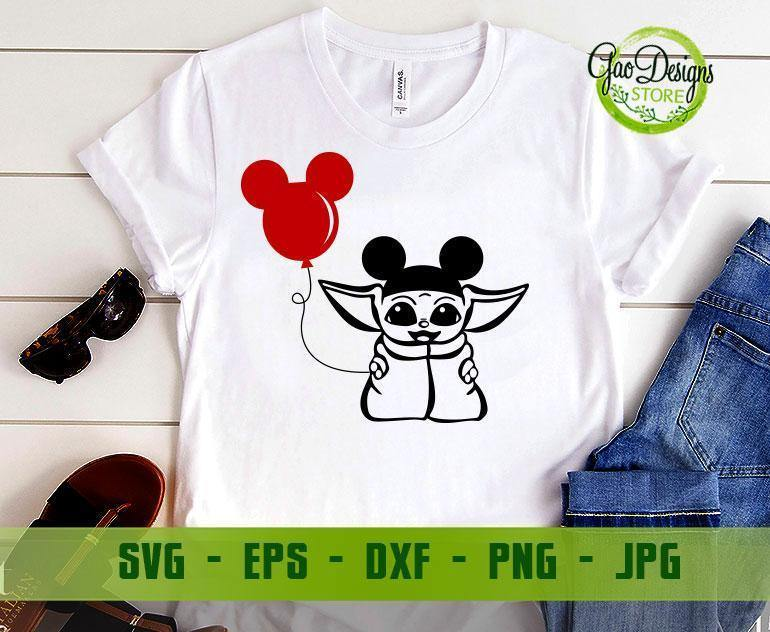 Baby Yoda Svg Mickey Ears Svg The Child Svg Mandalorian Baby Svg Star Wars Svg Files For Cricut Png Dxf Gaodesigns Store