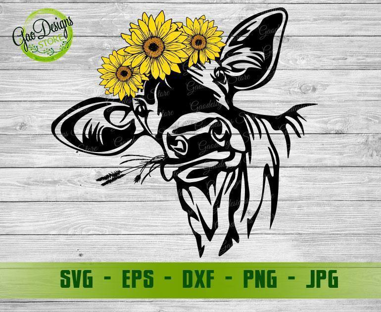 Cute Cow With Sunflower Crown Svg Heifer With Sunflower Svg Sunflower Cow Black And White Cow Clipart Cow Face Svg Cow Head Svg Gaodesigns Store