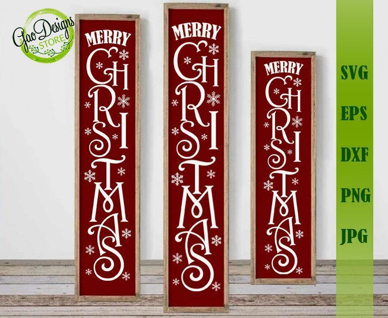Merry Christmas Vertical Sign Svg Cut File Farmhouse Rustic Style Svg File For Front Porch Sign Christmas Porch Sign Svg Welcomesign Svg Gaodesigns Store