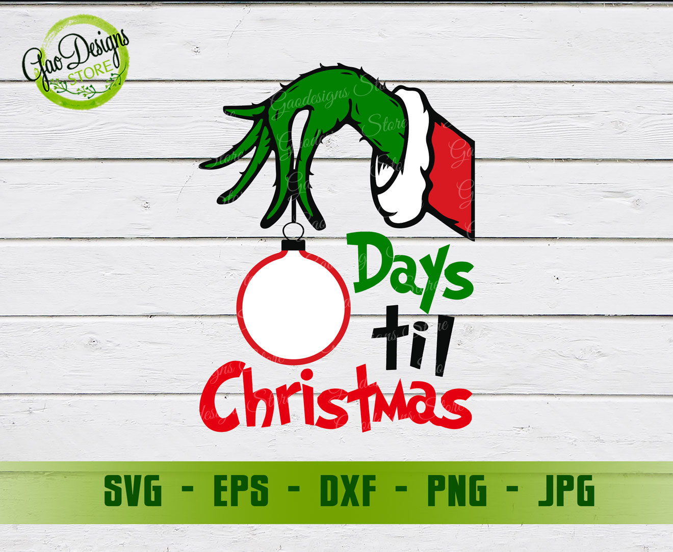 Grinch Hand Countdown Days Until Christmas Svg File Grinch Christmas Countdown Svg Winter Holiday Svg Gaodesigns Store