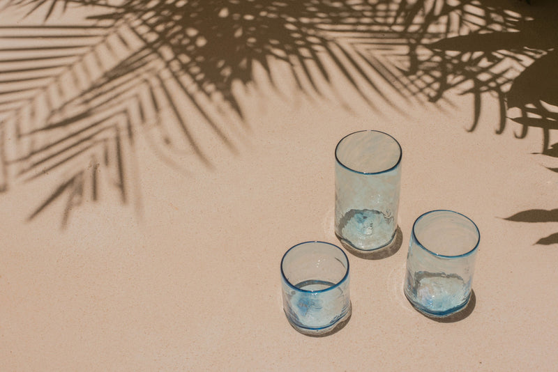 Hand-blown small glass set