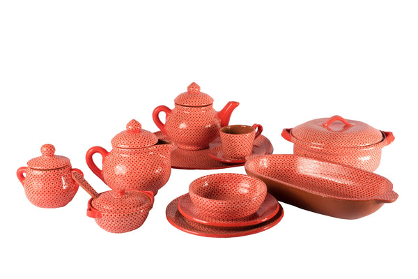 Orange dots tableware set