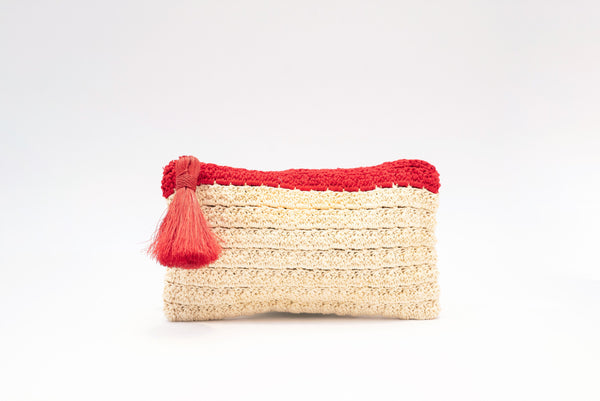 Red & Sand Cotton Crochet Clutch