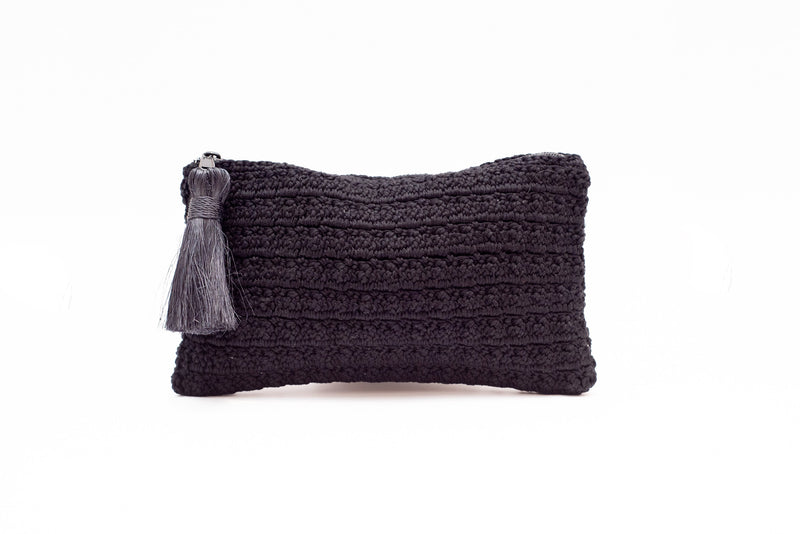 Black Cotton Crochet Clutch