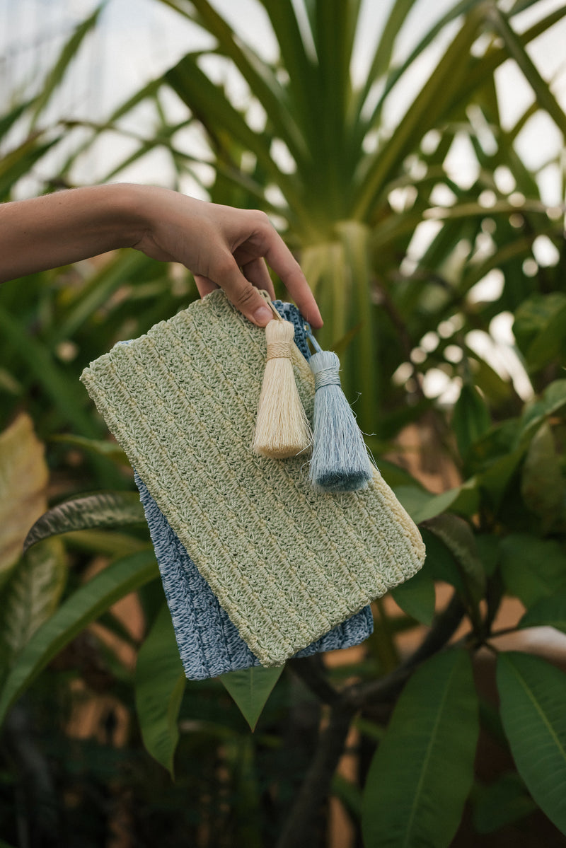 Two blues Nylon Crochet clutch.