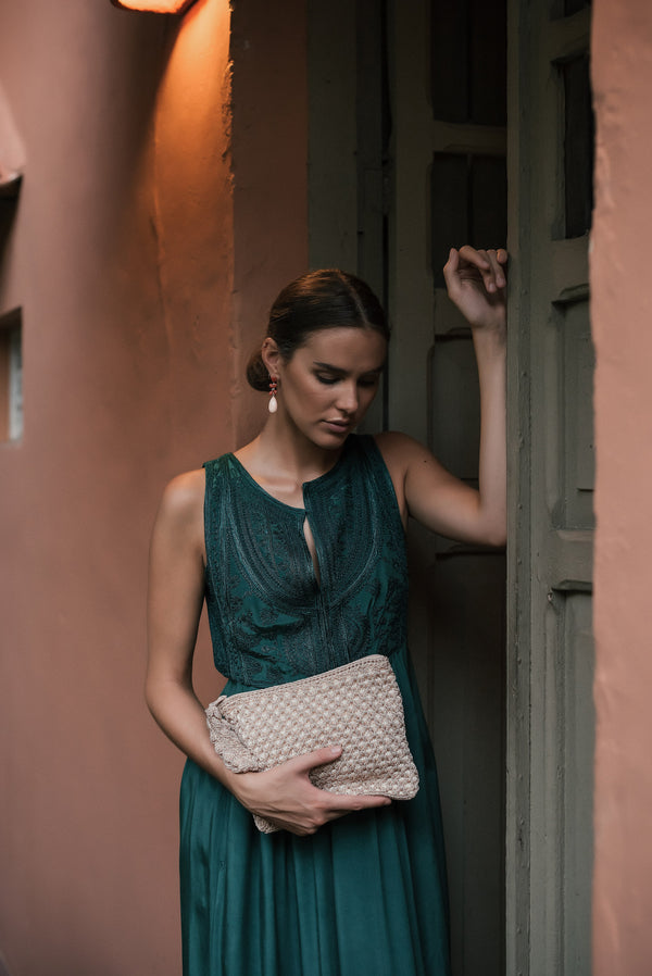 Green & White Piscina Clutch