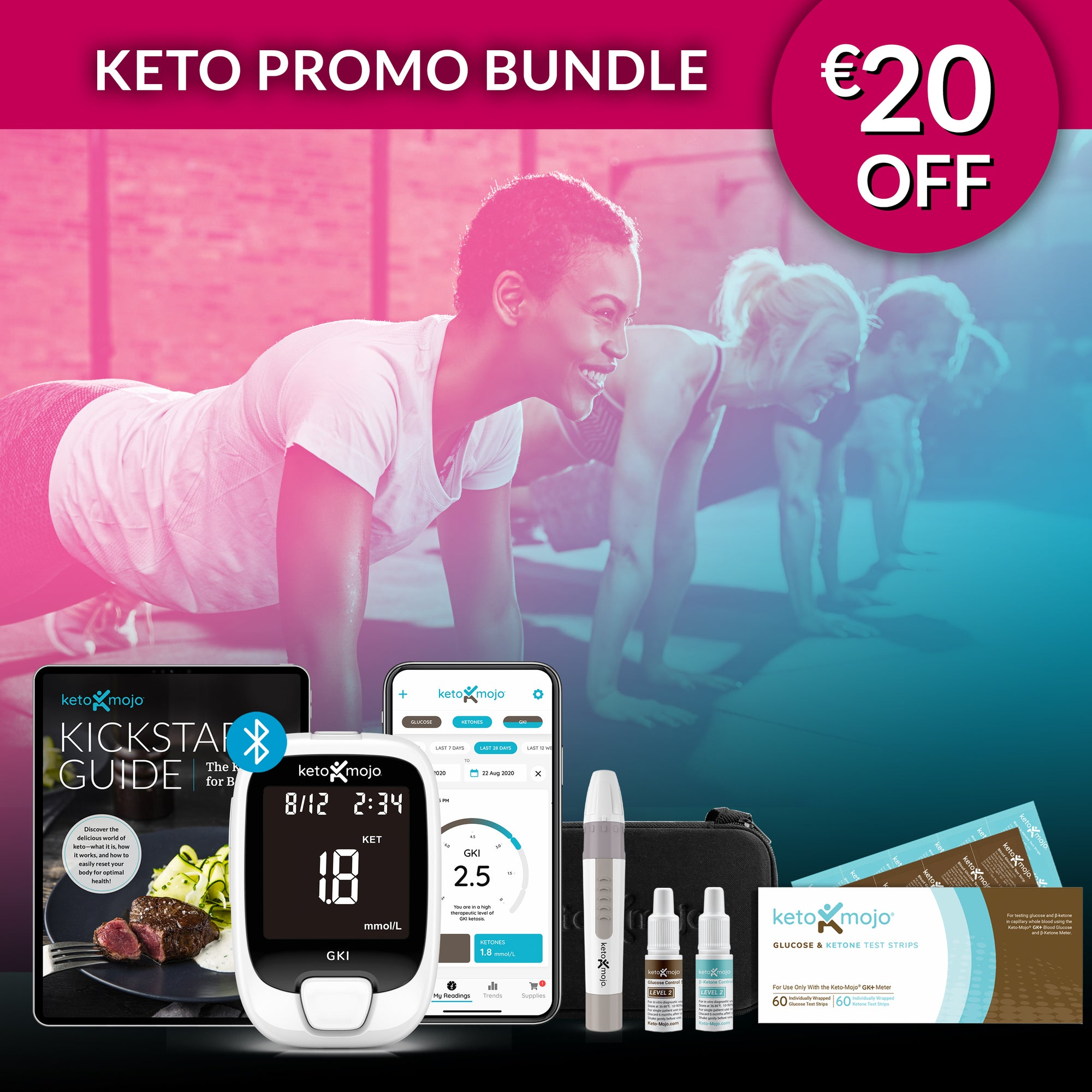 GKI-Bluetooth Blood Glucose & Ketone Meter Kit - PROMO PACK (mg/dL)