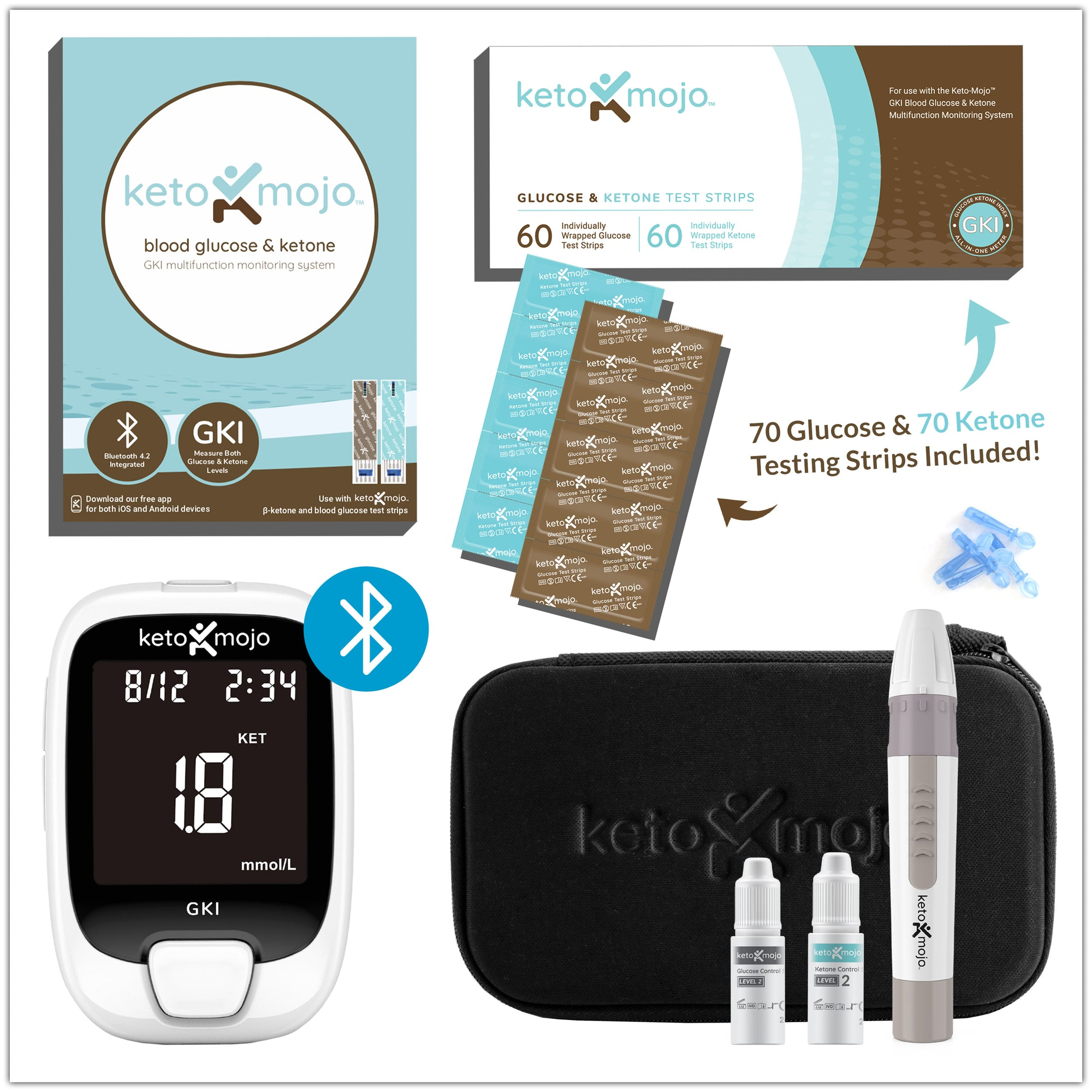 GKI-Bluetooth Blood Glucose & Ketone Meter - PREMIUM STARTER KIT (mg/dL)