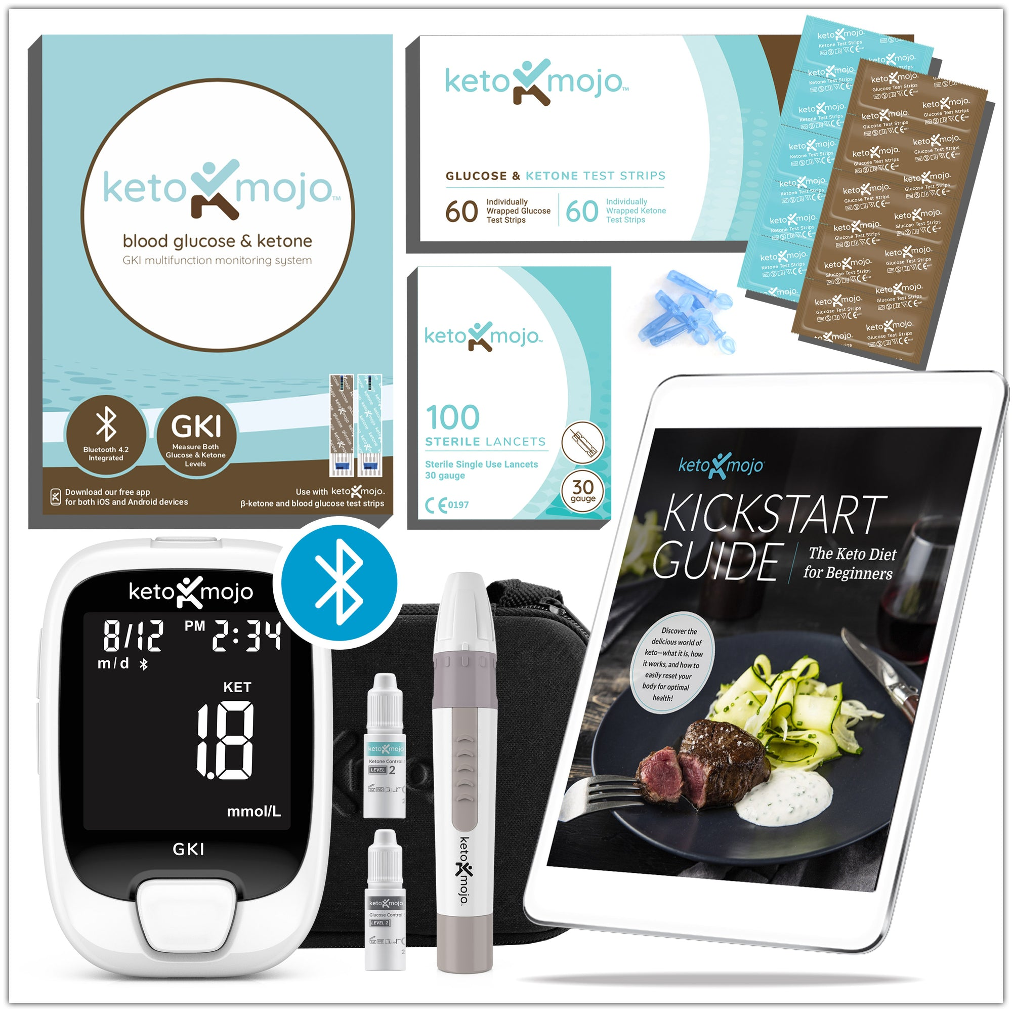 GKI-Bluetooth Blood Glucose & Ketone Meter Kit - PROMO BUNDLE (mg/dL)